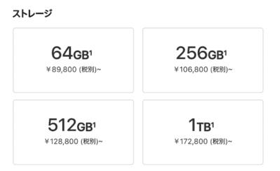 iPadProの容量