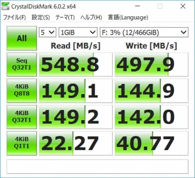 crystaldiskmark SAMSUNG T5外付けSSD 転送スピードUSB-C3.1Gen2