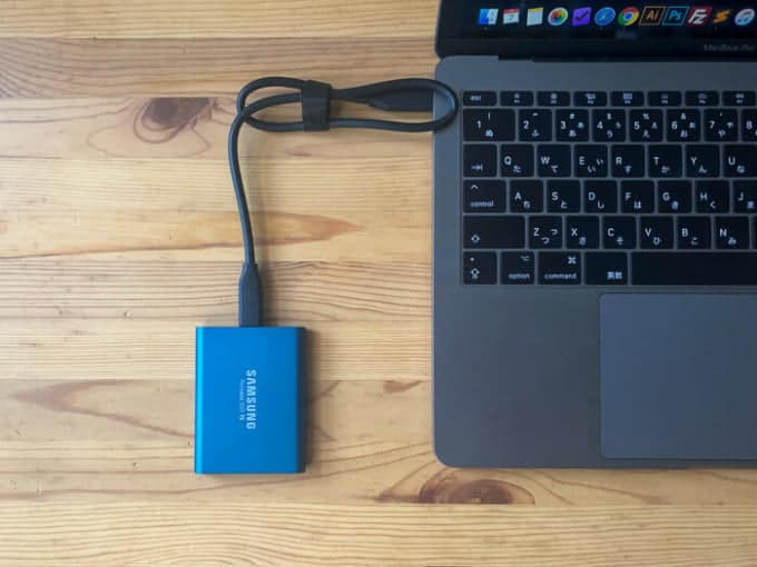 外付けSSD SAMSUNG PotableSSD T5MacBook
