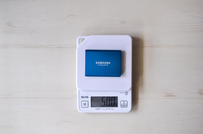 外付けSSD SAMSUNG PotableSSD T5重さ