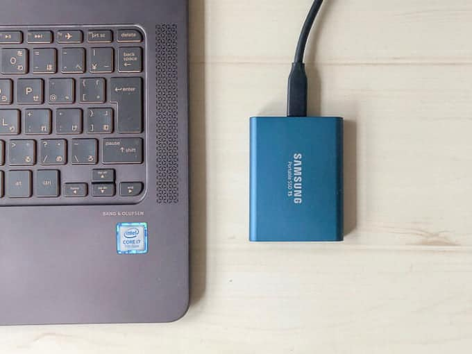 外付けSSD SAMSUNG PotableSSD T5Windows10