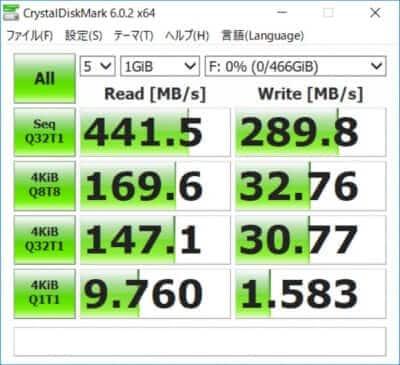 crystaldiskmark SAMSUNG T5外付けSSD 転送スピードUSB-C3.1Gen1