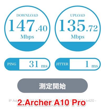 Archer A10 Proネット速度