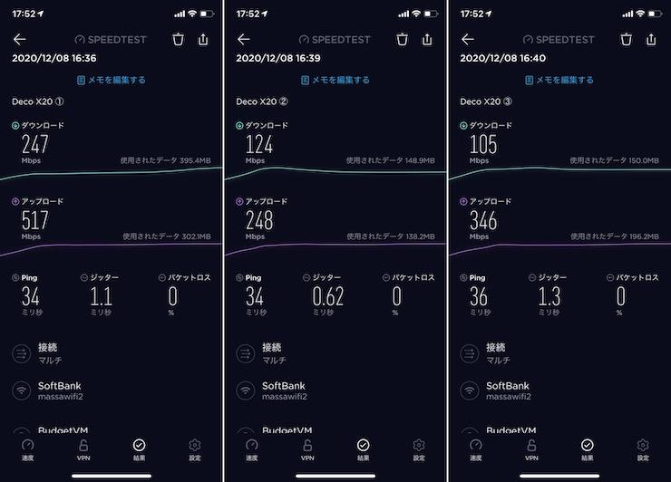 Deco x20の実測ネット速度