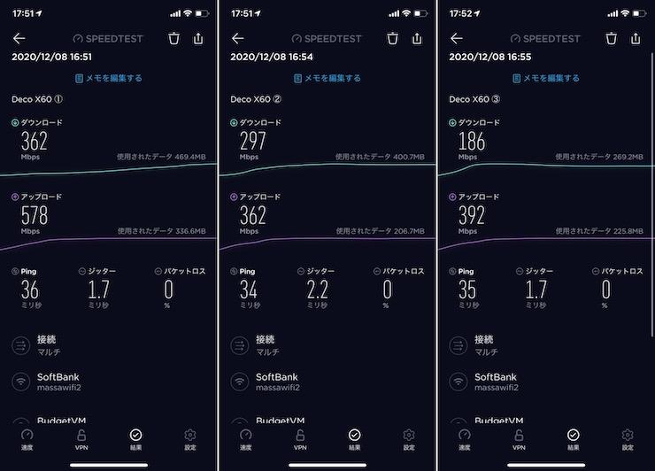 Deco x60の実測ネット速度